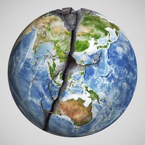 Das Bild zeigt die Weltkugel, welche in der Mitte einen Riss aufweist.